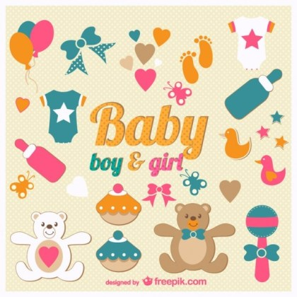 Baby Icons Set Free Vector