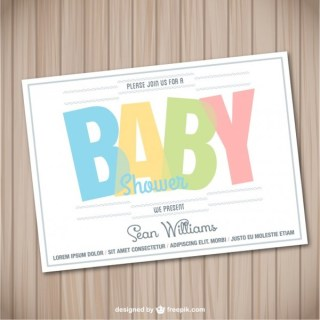 Baby Shower Card Wooden Template Free Vector