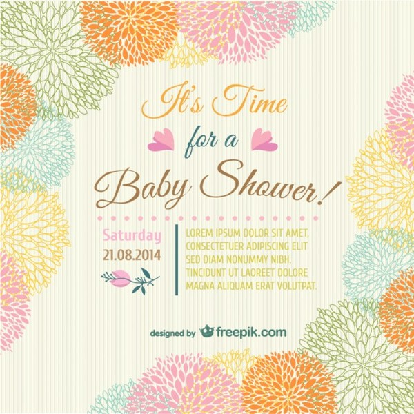 Baby Shower Floral Invitation Card Free Vector