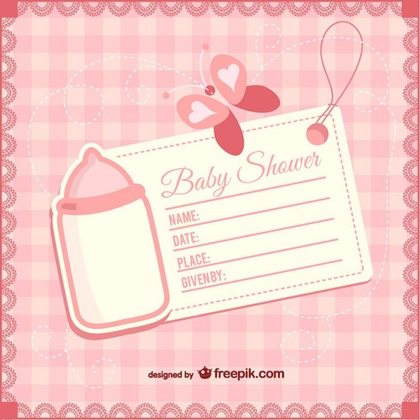 Baby Shower Girly Invitation Free Vector