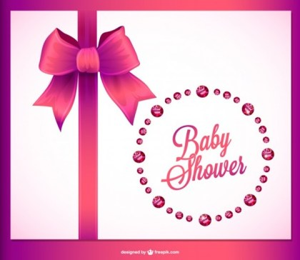 Baby Shower Invitation Crystals Design Free Vector