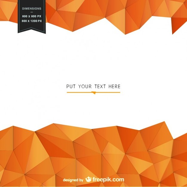 Background Template with Geometrical Orange Shapes Free Vector