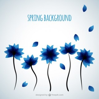 Background with Blue Flowers Free Vector