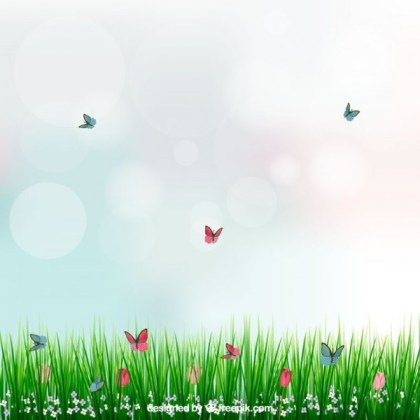 Background with Grass and Butterflies Free Vector