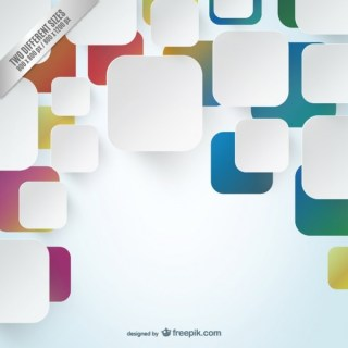 Background with White and Colorful Squares Free Vector