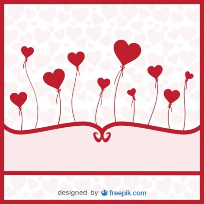 Balloons Hearts – Love Card Free Vector