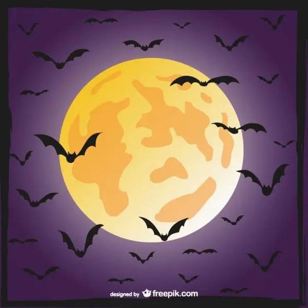 Bats and Moon Scene Free Vector