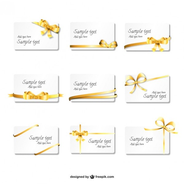 Beautiful Golden Ribbon Cards Free Vector