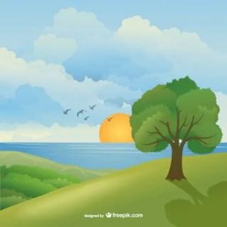 Beautiful Natural Landscape Free Vector