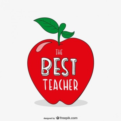 Best Teacher Typography with Apple Free Vector