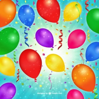 Birthday Balloons and Confetti Free Vector