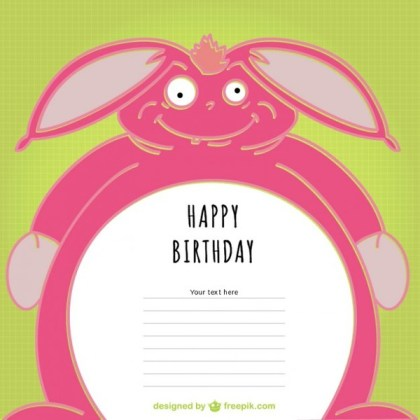 Birthday Bunny Card Design Free Vector