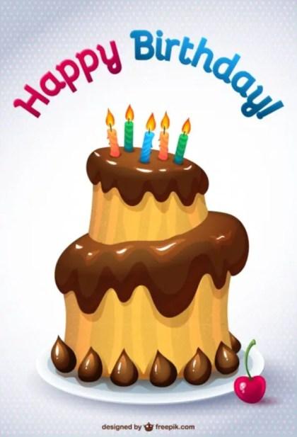 Birthday Cake Card Free Vector