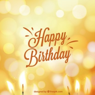 Birthday Card in Bokeh Style Free Vector