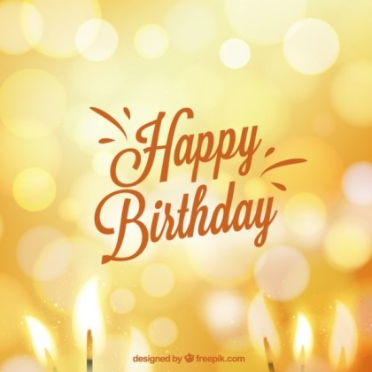 Birthday Card in Bokeh Style Free Vector