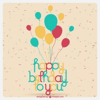 Birthday Card with Balloons Free Vector