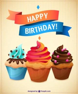 Birthday Cupcakes Free Vector