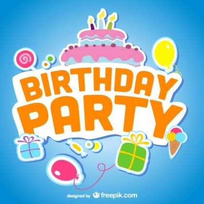 Birthday Elements with Sky Background Free Vector