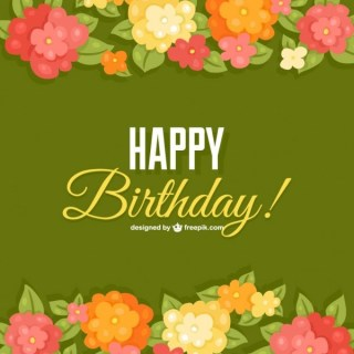 Birthday Flowers Card Template Free Vector