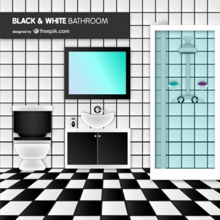 Black and White Bathroom Free Vector