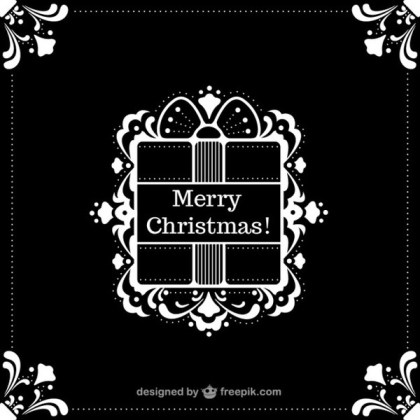 Black and White Christmas Background Free Vector