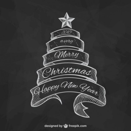 Black and White Christmas Greetings Free Vector