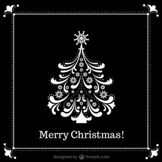 Black and White Christmas Tree Free Vector