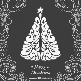 Black and White Vintage Christmas Card Free Vector