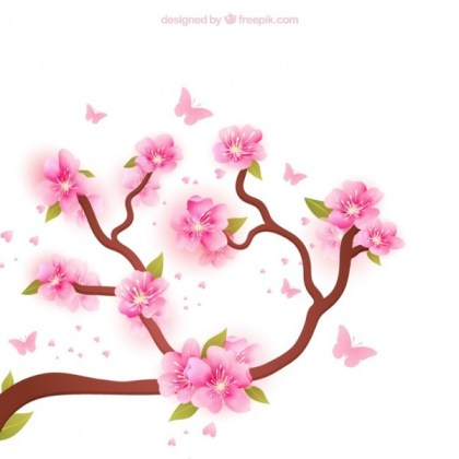 Blooming Branches Background Free Vector