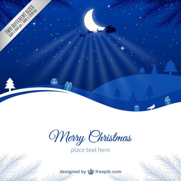 Blue and White Christmas Card Template Free Vector
