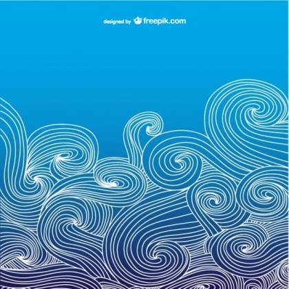 Blue Ocean Wavy Background Free Vector