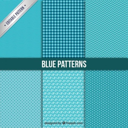Blue Patterns Collection Free Vector