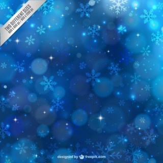 Blue Winter Background with Snowflakes Free Vector