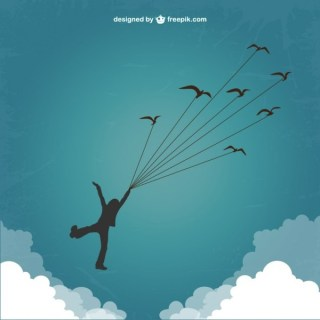 Boy Silhouette Flying with Birds Free Vector