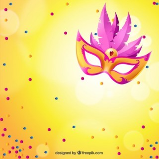 Bright Carnival Mask with Pink Feathers Free Vector
