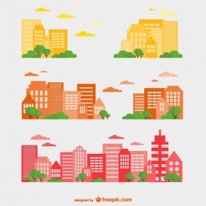Buildings Set Free Vector