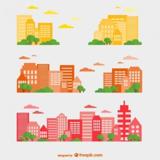 Buildings Set Free Vector