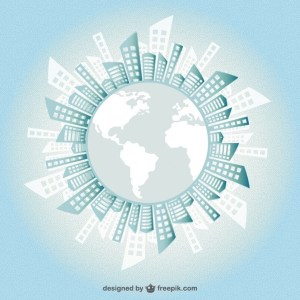 Buildings Silhouette Around The Earth Free Vector
