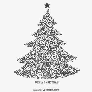 Calligraphic Christmas Tree Free Vector