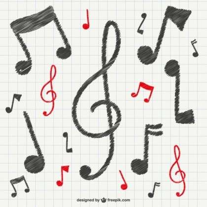 Calligraphic Musical Notes Free Vector