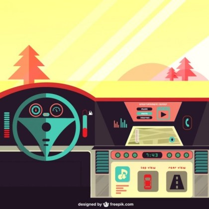 Car Dashboard on The Road Free Vector
