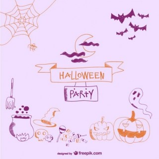 Card Decorative Doodle Items for Halloween Free Vector