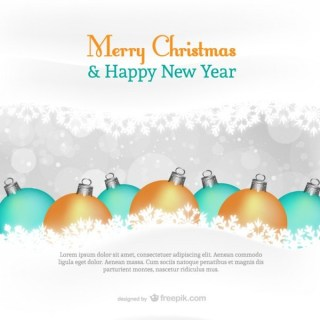 Card Template with Christmas Balls Free Vector