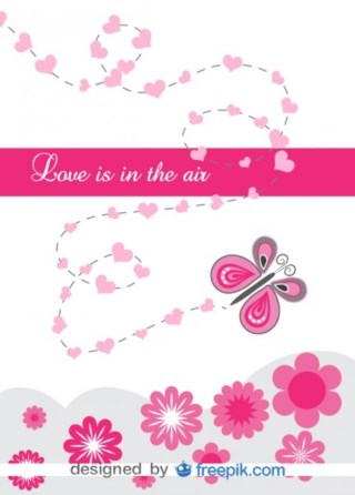 Card with Butterfly and Love Message Free Vector