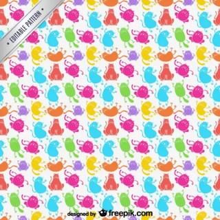 Cartoon Cats Pattern Free Vector