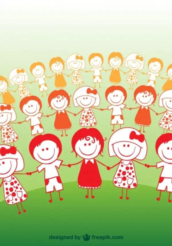 Cartoon Children Friendship Concept Free Vector