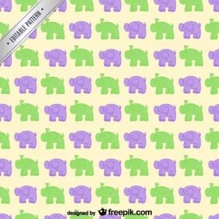 Cartoon Elephants Pattern Free Vector