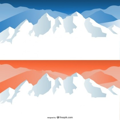 Cartoon Snow Capped Mountains Material Free Vector