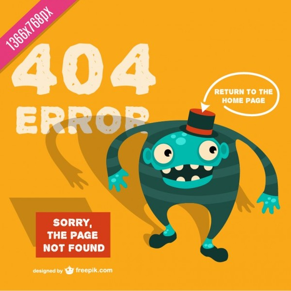 Cartoon Template for 404 Error Free Vector