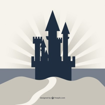 Castle Silhouette on Cliff Background Free Vector